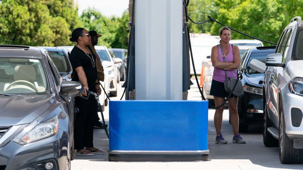 Fears over fuel shortages spurred some customers to panic buy petrol in the United States.