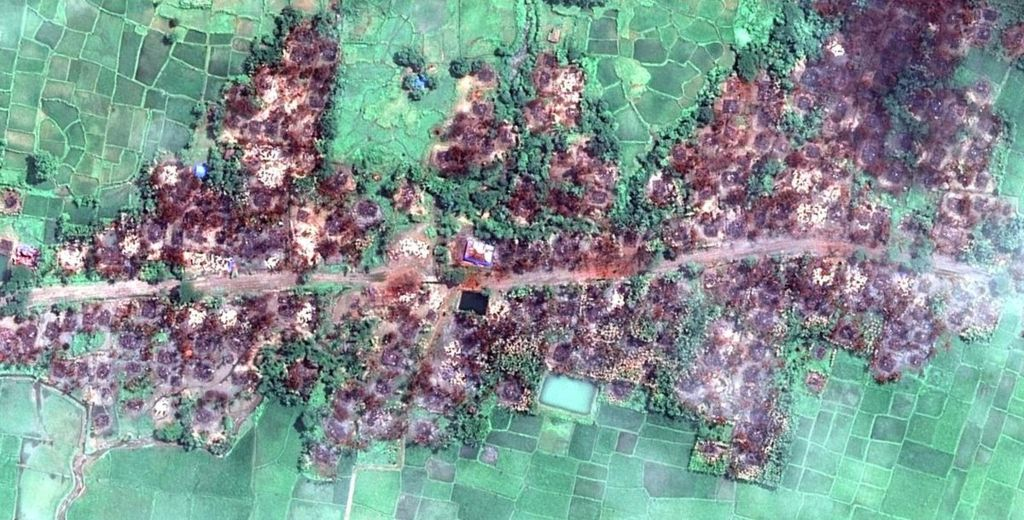 Satellite imagery from Myanmar revealed the destruction of Rohingya villages