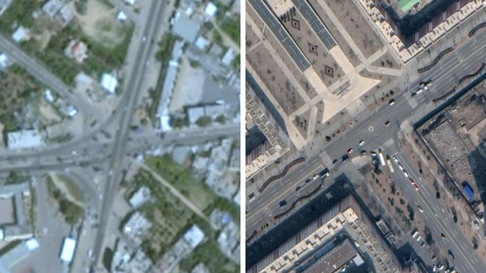 Google Earth image of Gaza on the left, and on the right the most recently available image of Pyongyang, North Korea.