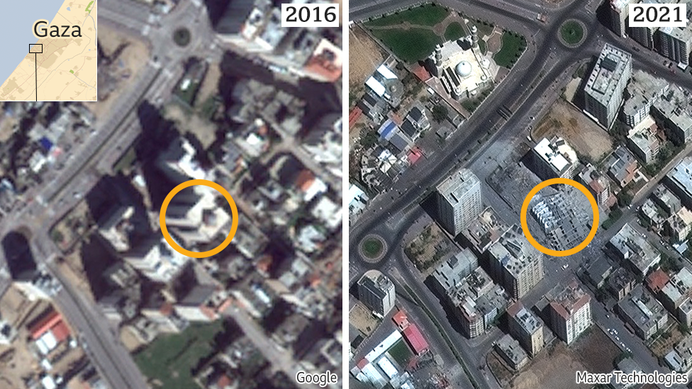 Left: The current Google Earth image of Hanadi tower in Gaza; right: a high-resolution satellite image showing the tower destroyed