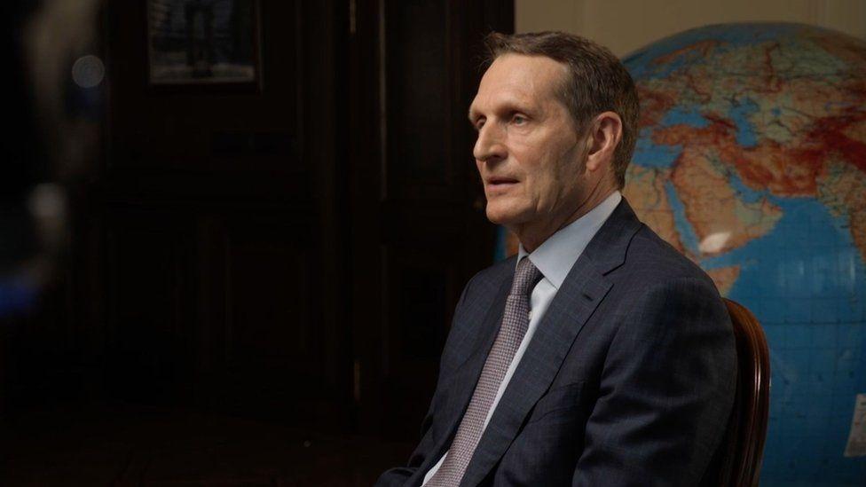 Russia's Foreign Intelligence Service (SVR) director Sergei Naryshkin speaks to BBC Moscow correspondent Steve Rosenberg