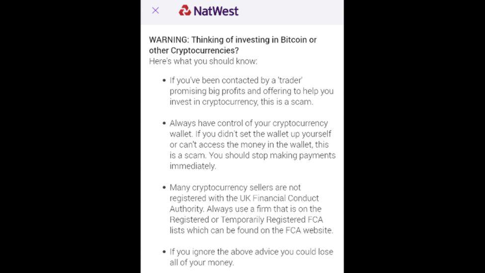 Предупреждение появляется в приложении NatWest после того, как владелец учетной записи войдет в систему.
