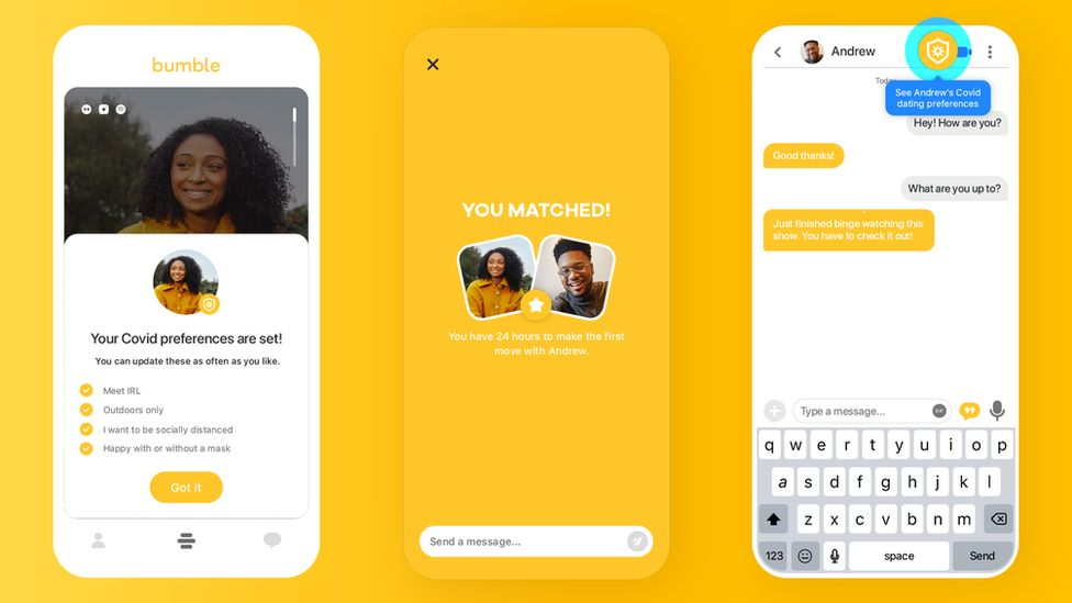 """Bumble's profile includes """"Covid preferences"""" in terms of how a potential date might work."""