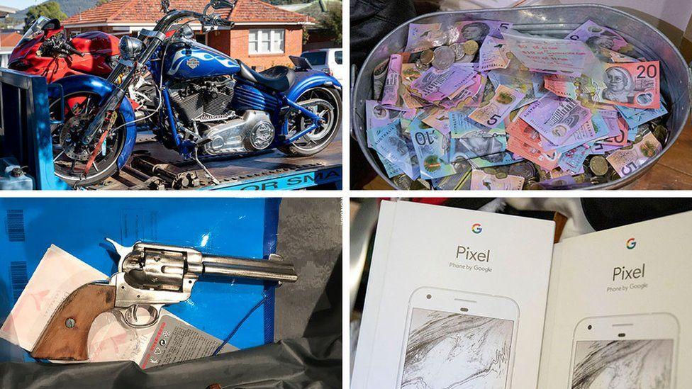 Предметы, изъятые в ходе облавы, включали мотоциклы и деньги