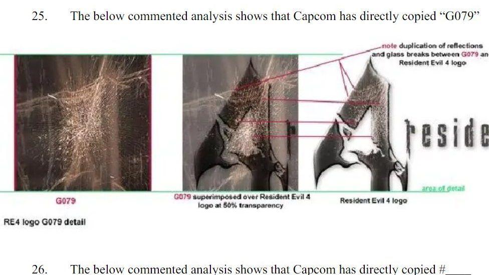 Судебные документы показывают текстуру разбитого стекла на фотографии г-жи Юрачек и на логотипе Resident Evil 4
