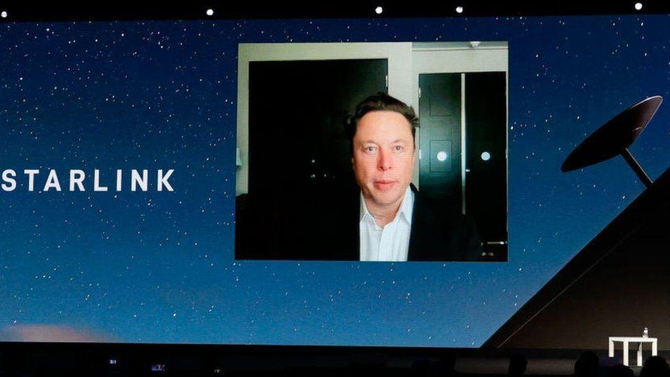 Elon Musk gave his keynote speech via video link.