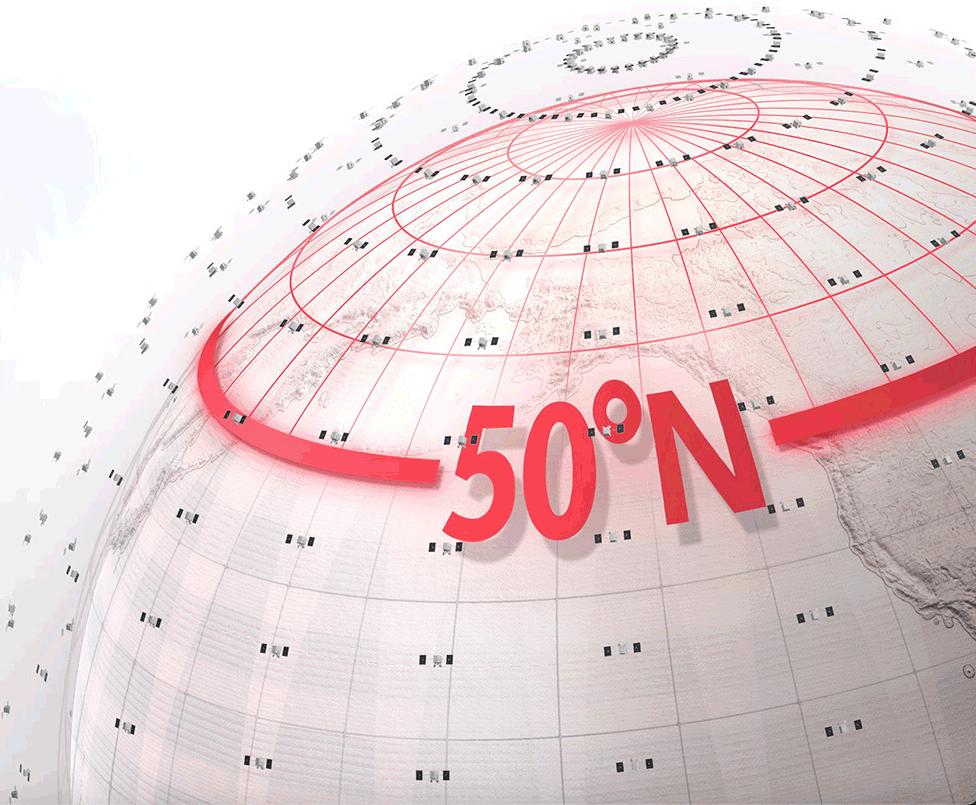 Плотность спутников после четверга позволит обслуживать более 50 градусов северной широты.