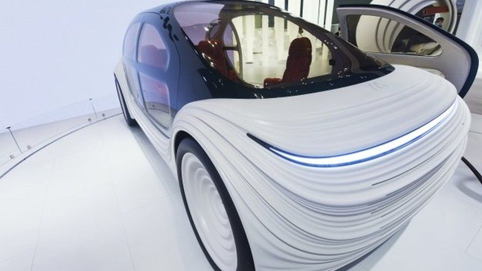 The exterior of the car is rippled to reflect the flow of air over it