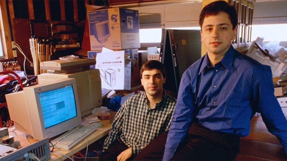 Основатели Ларри Пейдж и Сергей Брин создали Google в гараже в 1998 году - Сундар Пичаи присоединился к ним шесть лет спустя