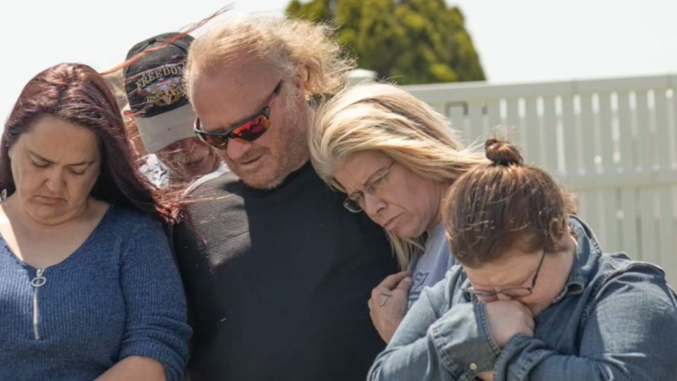 Rob and Danielle at the funeral