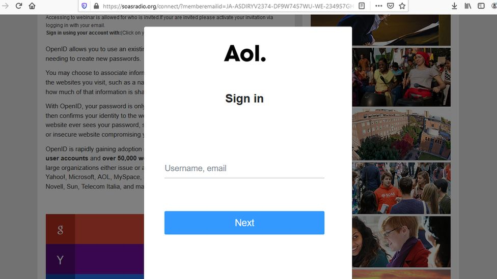 The compromised website invited people to register as a way of capturing their passwords and user names