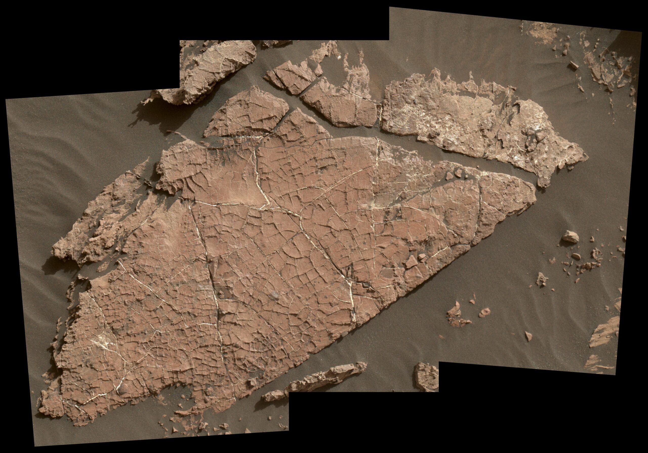 """""""Old Soaker"""": Сеть трещин в этой марсианской скальной плите под названием """"Old Soaker"""" могла образоваться в результате высыхания слоя грязи более 3 миллиардов лет назад."""