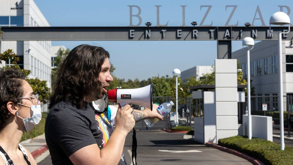 Protesters outside Blizzard Entertainment