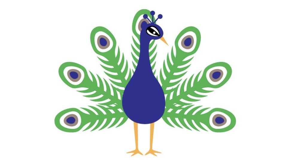 The original peacock emoji design approved by Unicode