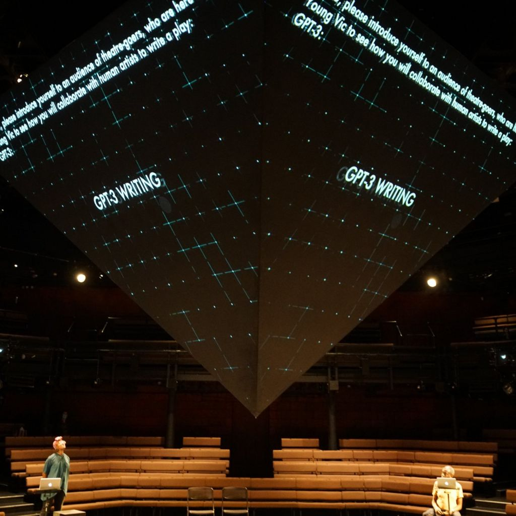 GPT-3's words were projected above the stage