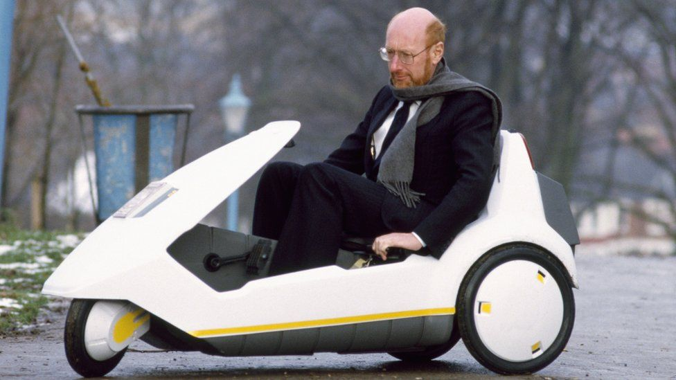 Sir Clive Sinclair demonstrates his ill-fated electric C5 vehicle in 1985