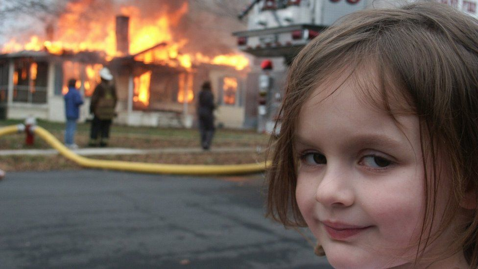 The Disaster Girl meme, featuring Zoë Roth won a photography prize in 2008 and went viral when it was posted online