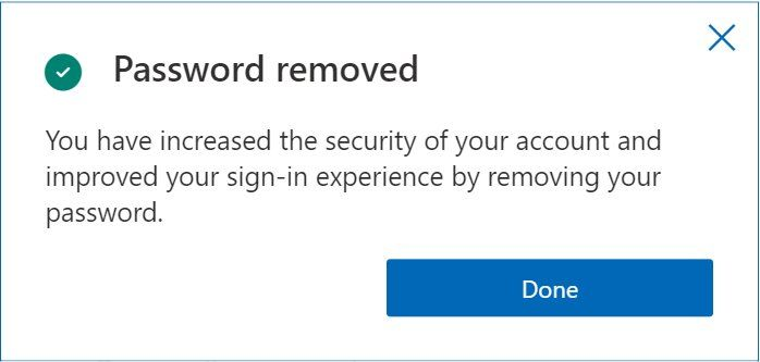 Microsoft's messaging tells customers no passwords are more secure