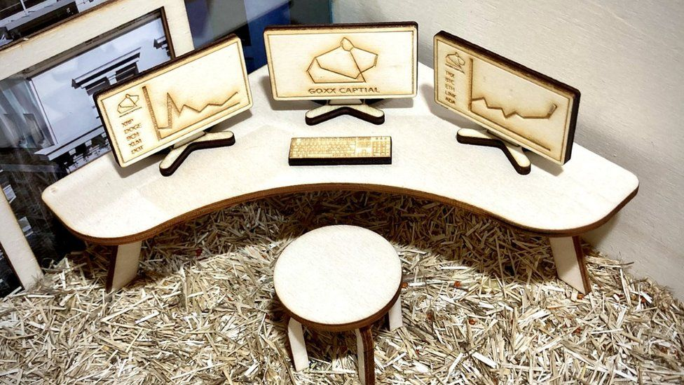 Mr Goxx's trading desk, made of fine hand-crafted furniture