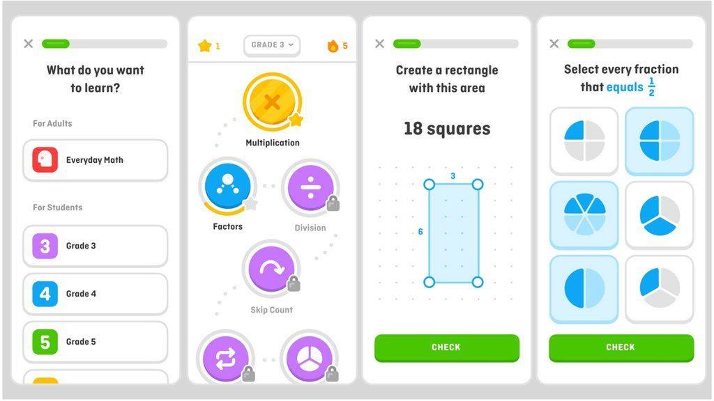 Image caption, Development sketches released by Duolingo show what the new maths app may look like
