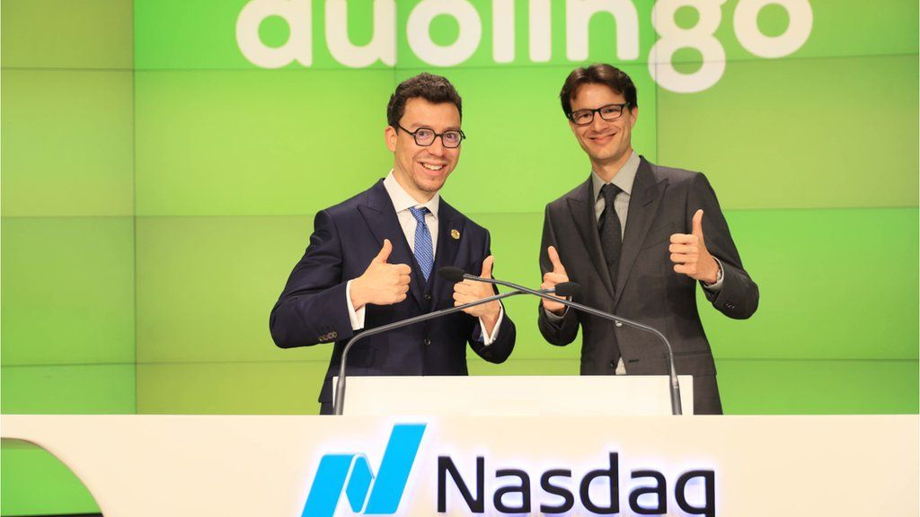 Image caption, Floated on the Nasdaq stock exchange in July, Duolingo is now valued at more than $6bn