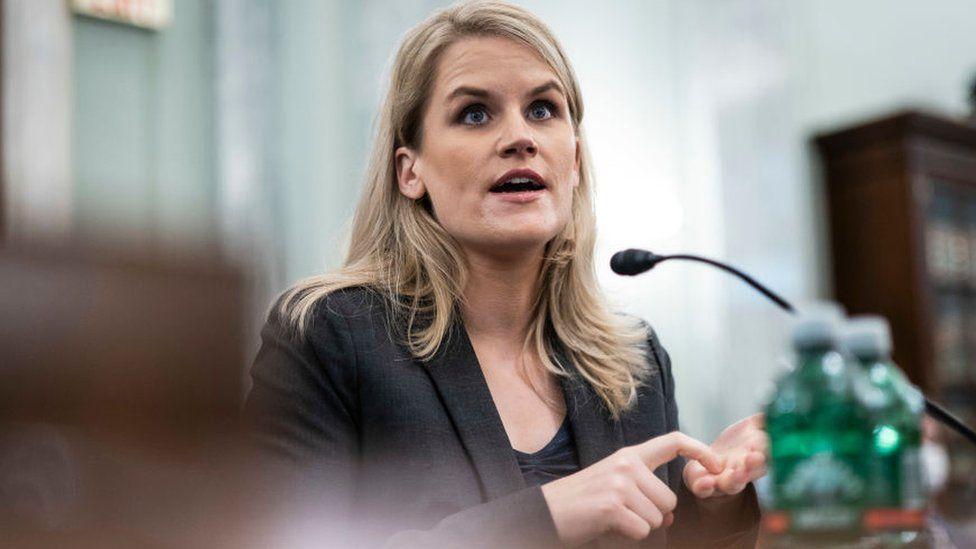 Image caption, Whistleblower Frances Haugen answering US lawmakers questions