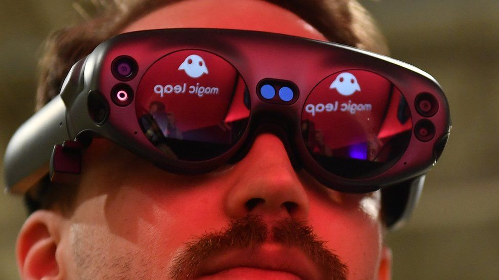 Image caption, A Magic Leap headset shown in 2019
